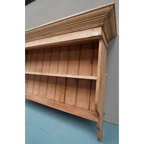 4 - A LARGE PINE 'DRESSER TOP' STYLE WALL SHELF in Victorian style.108 x 176 x 41 cms