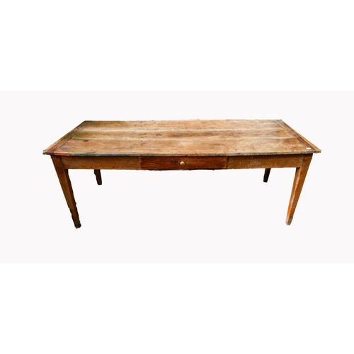 8 - FRENCH 19th CENTURY OAK PLANK TOP FARMHOUSE TABLE, with single drawer on tapered legs, 76 x 75 x 186...