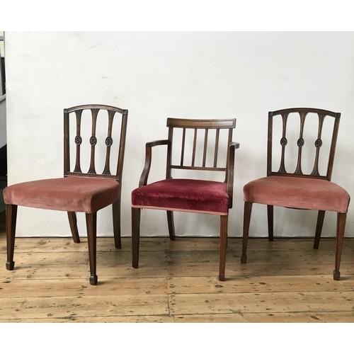 9 - THREE GEORGE III MAHOGANY CHAIRSCIRCA 1800including one armchair
