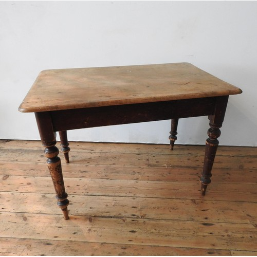 13 - A VICTORIAN RUSTIC PINE TURNED LEG SCULLERY TABLE WITH CUTLERY DRAWER, 74 x 106 x 71cm