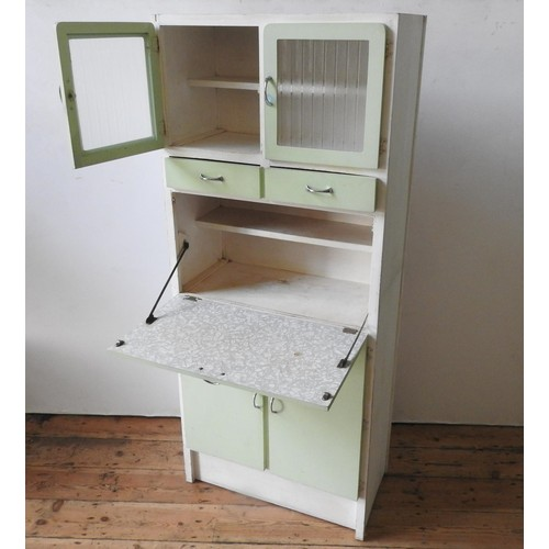 15 - A VINTAGE GLAZED FALL-FRONT KITCHEN CABINET, with two drawers, two cupboard doors below and two glas...