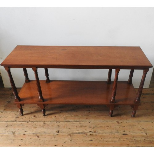 17 - A LATE VICTORIAN MAHOGANY 2-TIER BUFFET, on eight turned legs with eight fluted tapered supporting p...