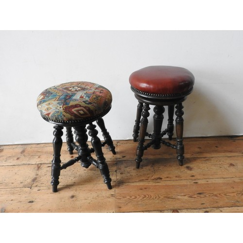 25 - TWO VICTORIAN ADJUSTABLE CIRCULAR PIANO STOOLS, both on ornate turned oak bases, 25cm dia and simila...