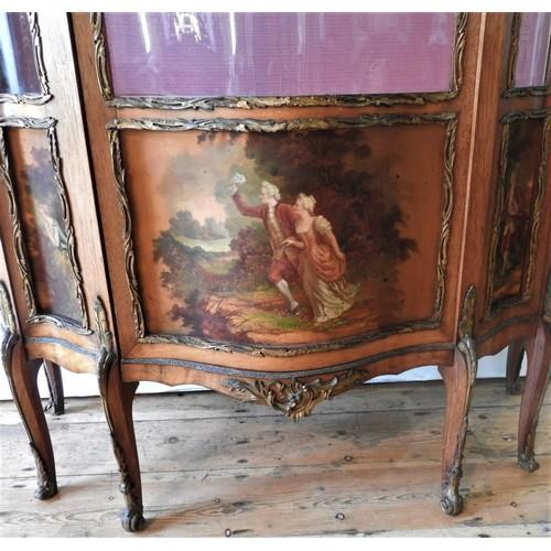 27 - AN ORNATE 20TH CENTURY LOUIS XV STYLE WALNUT VENEER VETRINE CABINET, the serpentine fronted cabinet ...