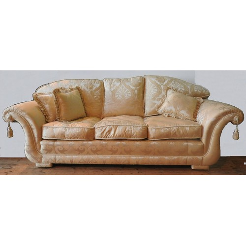 29 - A HARRODS THREE SEAT SCROLL ARM SOFA WITH MATCHING TWO SEAT SOFA AND ARMCHAIR, the loose cushions up...