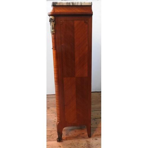 30 - A 20TH CENTURY WALNUT VENEER LOUIS XVI STYLE SECRETAIRE, a tambour roll enclosing seven trinket draw...