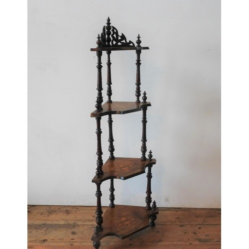 32 - A VICTORIAN WALNUT 4-TIER MARQUETRY INLAID CORNER WHATNOT, 140cm high, with twist supports and finia...