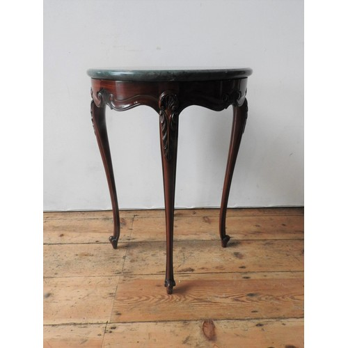 38 - A BRIGHTS OF NETTLEBED LOUIS XV STYLE MARBLE TOP LAMP TABLE, the marble top 46 cm dia, supported on ...