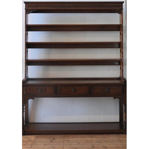 40 - A 20TH CENTRY 'OLD CHARM' OAK KITCHEN DRESSER WITH PLATE RACK, the dresser base with three drawers a...