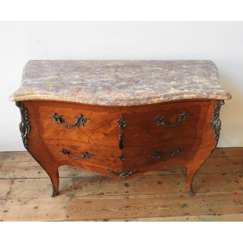 41 - A 20th CENTURY LOUIS XV STYLE CONTINENTAL MARBLE TOP BOMBE CHEST, the two drawer chest with floral m...