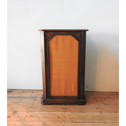 51 - A VICTORIAN WALNUT PIER CABINET, with marquetry inlay 90 x 55 cm