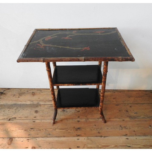 52 - A VICTORIAN LACQUERED BAMBOO THREE TIER OCCASIONAL TABLE, 73 x 65 x 45 cm