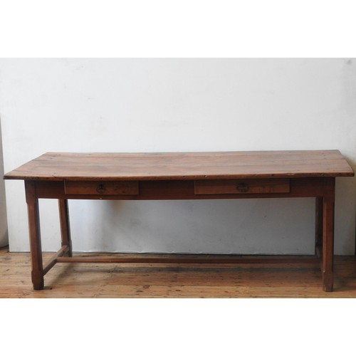 53 - A 19TH CENTURY FRENCH FRUITWOOD FARMHOUSE TABLE WITH TWO DRAWERS, on a stretcher bar base, 72 x 82 x...