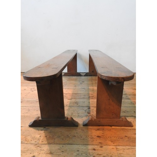 54 - A PAIR OF FRENCH 19TH CENTURY FARMHOUSE BENCHES, 46 x 198 cm