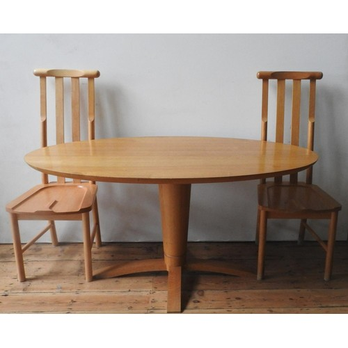 58 - A CONTEMPORARY BEECH WOOD OVAL DINING TABLE AND TWO PAIRS OF HIGH BACK CHAIRS, the oval table top su...
