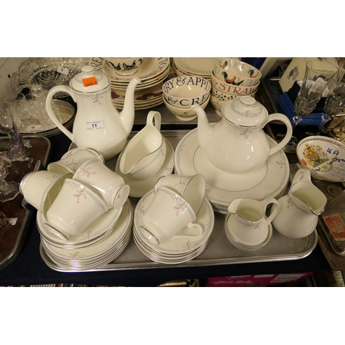 11 - Royal Doulton Carnation pattern china tea, coffee and dinner wares...