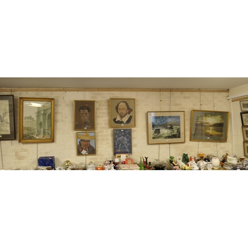 12 - Paul Braddon framed architectural watercolour, also four further framed portraits and two gilt frame...