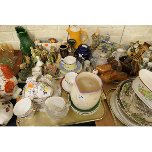 20 - Decorative china including tea wares, figures, jugs etc (3 trays)...
