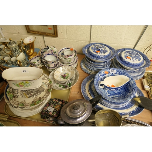 22 - Blue and white dinner wares, assorted tea and dinner wares...