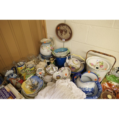 55 - Decorative figures and china including tea wares by Wedgwood and others, Portmeirion vase, jugs, bow...
