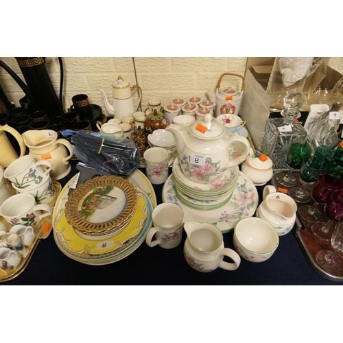 8 - Chinese tea wares, assorted coffee wares, decorative 19th Century and later plates, Royal Doulton Ex...