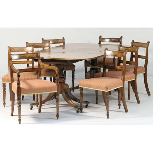 528 - Good Regency mahogany twin pedestal dining table and a set of eight Regency mahogany dining chairs, ...