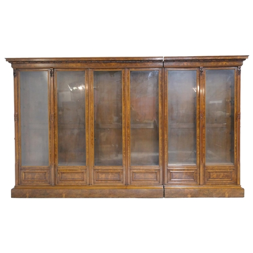 553 - Victorian burr walnut library bookcase, circa 1860, carved moulded cornice over three pairs of glaze...