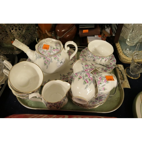 14 - Royal Albert Rosedrop patterned china tea service...