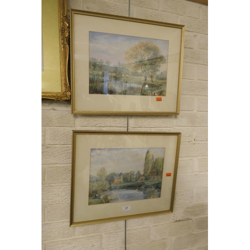 27 - Pair of Victorian river landscape watercolours, signed W. Fuge...