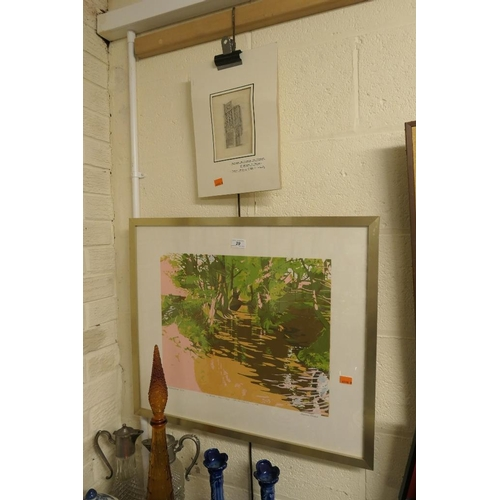 29 - Susan Shaw, limited edition, silk screen print 'The Brook' signed and dated 1981; also unframed penc...