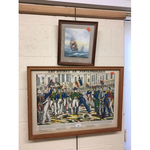 51 - Reproduction French coloured print, 'Les Adieux de Fontainebleau' and small framed oil painting of H...