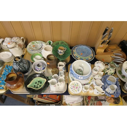 56 - Decorative ceramics including Poole jar, Victorian salt glazed hunting jug, Regency period Imari sto...