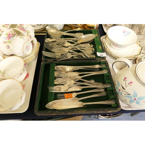 10 - Assorted silver plated flat ware; also Royal Albert Sorento patterned milk jug and sugar bowl; also ...