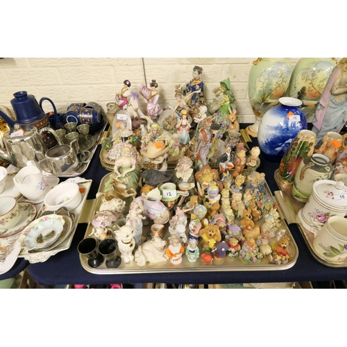 12 - Decorative figures including Royal Doulton Clarissa  and others (2 trays)...