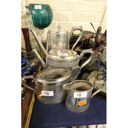 18 - Victorian EPBM four piece tea service...