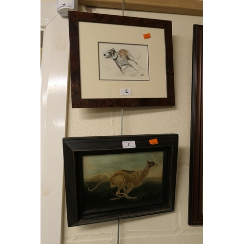 2 - Naive portrait oil of a running greyhound, framed; also framed watercolour of a greyhound (2)...