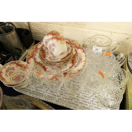 21 - Shelley Sheraton pattern (red) tea wares, dinner plates; also assorted quality cut glassware...