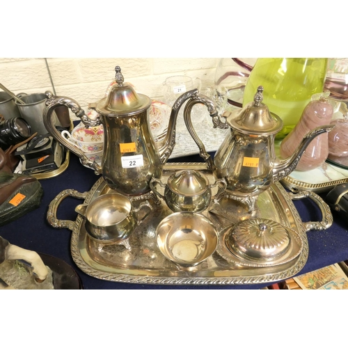 22 - Silver plated four piece coffee service on tray; also butter dish and sugar bowl...