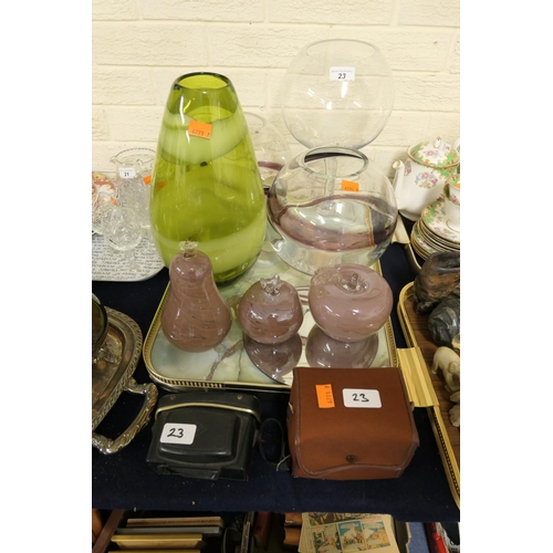 23 - Large decorative glass vases, glass paperweights and two cameras...