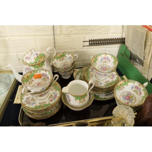 24 - Shelley Sheraton pattern (green) tea service...