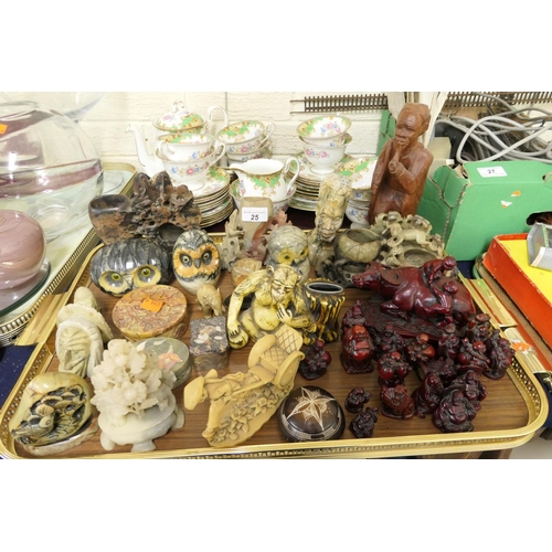25 - Assorted Chinese style hardstone ornaments, further carved stone ornaments and resin ornaments (1 tr...