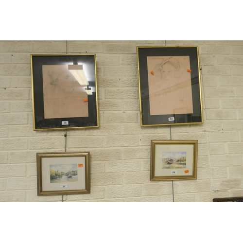 26 - M Kitching pair of framed watercolours; also two gilt framed portrait prints, 'The Lady Mary after Q...