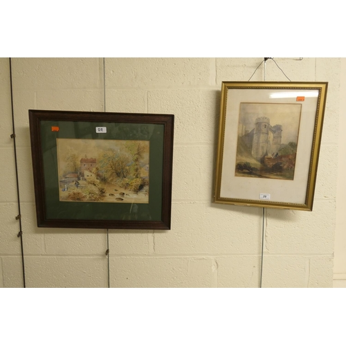 29 - Framed watercolour of castle gate and further framed watercolour of a watermill (2)...