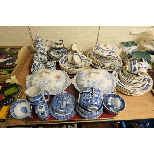 30 - Copeland Spode's Italian pattern butter dish, tea service; also blue and white tureens, Booths blue ...