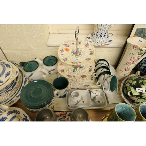 31 - Denby Green Wheat pattern tea wares; also three tier cake stand (1 tray)...