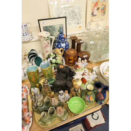 34 - Mason's Ironstone Regency pattern dish, decorative ceramics including pair of majolica vases, old Tu...