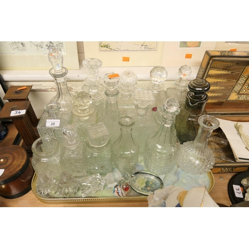 35 - 1950s style decanter, quantity of further decanters by Royal Albert and others...