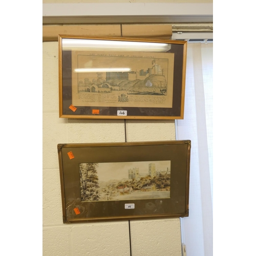 46 - Framed watercolour of Durham Cathedral and framed engraving of Chester Castle (2)...