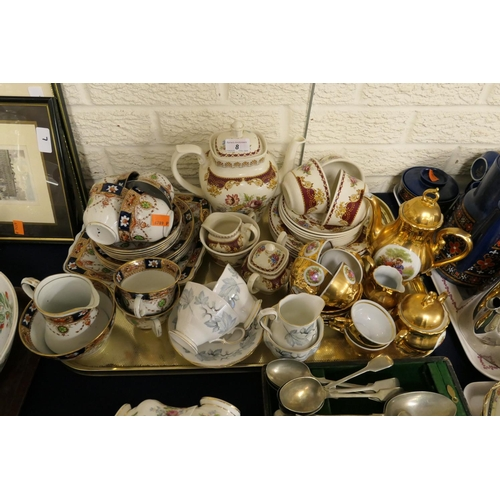 8 - Royal Albert Silver Maple tea wares, further tea wares, Continental porcelain gilt coffee service...