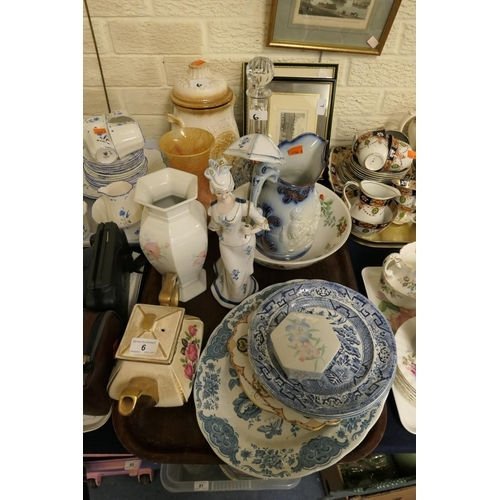 6 - Decorative china including Victorian Old Willow pattern plates, decorative figure etc; also glass de...
